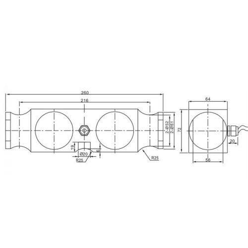 Двухопорный тензодатчик QSE-A схема